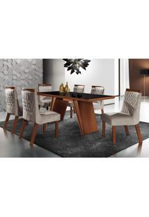 Conjunto Sala De Jantar Mesa Tampo Mdf E 6 Cadeiras Atlanta Tik Plus Siena Móveis Castanho Premio/Pena Bege