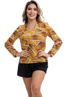 Camisa Clara Arruda Decote V 12048 - Feminino-Amarelo