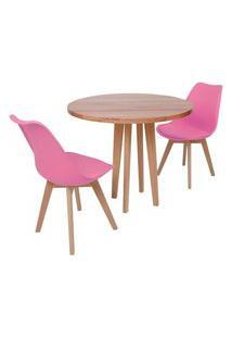 Conjunto Mesa De Jantar Em Madeira 90Cm Com Base Vértice + 2 Cadeiras Leda - Rosa