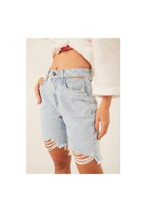Bermuda Jeans Denim Zero Mommy Com Barra Irregular