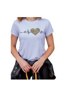 Blusa T-Shirt Camiseta Feminina Estampada - Batimentos Cardíacos Pulsando - Oncinha