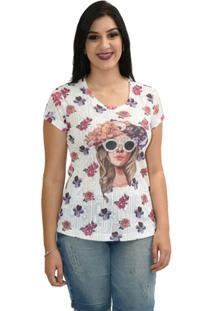 T-Shirt Em Malha Com Estampa Motivo Floral - 100% Poliester - Feminino-Lilás