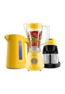 Kit Cadence Colors Amarelo - Liquidificador - Cafeteira - Chaleira