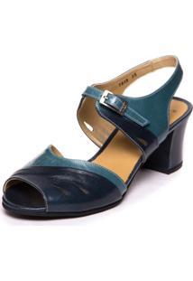 Sandalia Vintage Em Couro - Passiflora / Riverside 7849 Mzq - Azul Marinho - Feminino - Dafiti