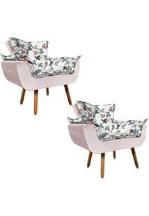 Kit 02 Poltrona Decorativa Opala Composê Estampado Floral D68 E Peach Rose - D'Rossi