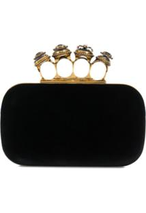 Alexander Mcqueen Spider Jewelled Four Ring Box Clutch - Preto