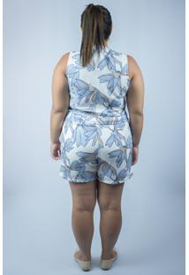 Conjunto Belas Marias Short E Blusa Cropped Azul Claro Estampado