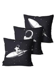 Kit Com 3 Capas Para Almofada Inf Astronauta Preto 45X45Cm