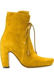 Lanvin Ankle Boot Com Cadarço - Amarelo