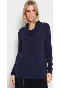 Blusa Lisa Com Franzidos- Azul Marinhoenna