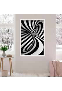 Quadro Love Decor Com Moldura Abstrato 3D Branco Médio