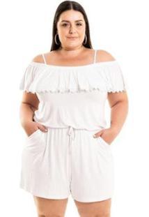 Macaquinho Malha De Viscose Ciganinha Com Babados Miss Masy Plus Size Feminino - Feminino-Branco