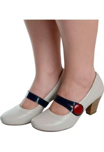 Sapato Laura Prado Boneca Confort Offwhit Marinho - Bege - Feminino - Dafiti