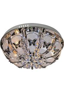 Plafon De Cristal Arquitetizze Capri Com Controle Prata