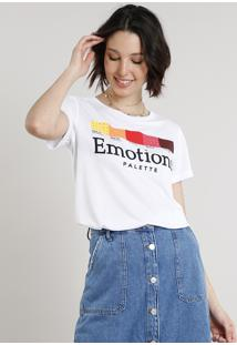 "Blusa Feminina ""Emotions Palette"" Manga Curta Decote Redondo Branca"