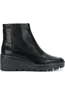 Geox Ankle Boot Plataforma De Couro - Preto