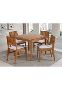Conjunto Salvador 4 Cadeiras Estofadas Eucalipto Cor Verniz Jatoba 90 Cm (Larg) - 45901 - Sun House