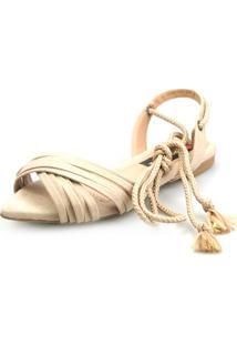 Sandalia Rasteira Love Shoes Bico Folha Amarração Cruzada Areia