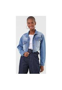 Jaqueta Cropped Jeans Dimy Destroyed Azul