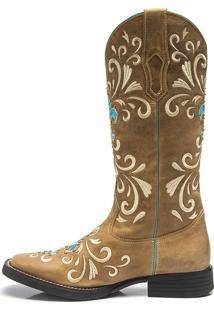 Bota Texana Feminina - Fossil Caramelo - Roper - Bico Quadrado - Cano Longo - Solado Freedom Flex - Vimar Boots - 13053-A-Vr
