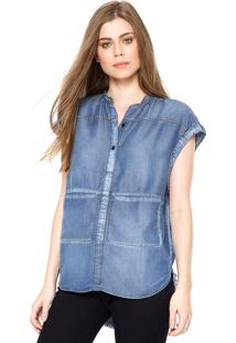 Camisa Jeans Colcci Loose Bolsos Azul
