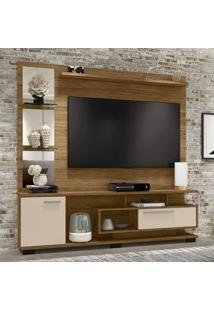 Estante Home Para Tv Até 60 Polegadas Com Espelho 2 Portas Móveis Bechara Cinamomo/Off-White