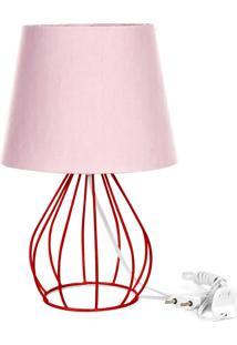 Abajur Cebola Dome Rosa Com Aramado Vermelho - Rosa - Dafiti