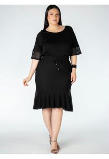Blusa Plus Size Preta Com Detalhe Em Tela