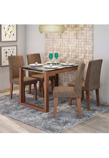 Conjunto De Mesa De Jantar Retangular Anita Com 4 Cadeiras Milena Suede Cacau E Savana
