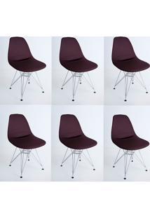 Kit Com 06 Capas Para Cadeira De Jantar Eiffel Wood Marrom