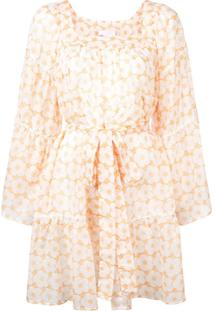 Lisa Marie Fernandez Floral Frilled Dress - Amarelo