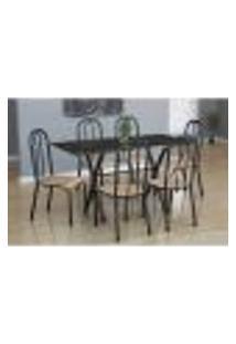 Conjunto De Mesa Miame Com 6 Cadeiras Madri Preto Prata E Nature Bege