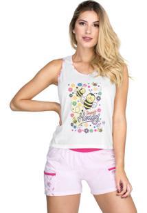 Pijama Nadador Bolso Blusinha Short Bravaa Modas 004 Rosa