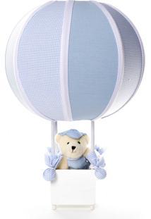 Abajur Balãozinho Urso Potinho De Mel Azul - Kanui
