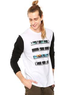 Camiseta Quiksilver Read Between Branca/Preta