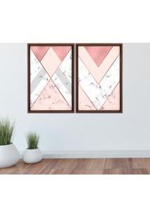 Quadro Com Moldura Chanfrada Triângulo Com Mármore Madeira Escura - Médio