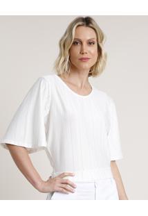 Blusa Feminina Listrada Com Lurex Com Abertura Manga Curta Decote Redondo Branca