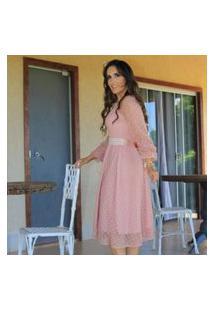 Vestido Luxo Rose Moda Evangélica