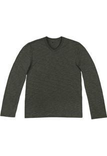 Camiseta Masculina Básica Em Malha Flamê Com Decote V