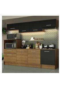 Cozinha Completa Madesa Onix 240003 Com Armário E Balcáo - Rustic/Preto 5Zd8 Marrom