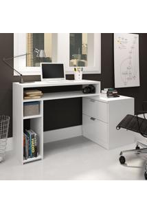 Mesa Para Computador Com 2 Gavetas Multifuncional Branco Movelbento