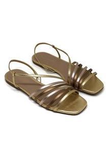 Sandália Rasteira Bellavine Feminina Tiras Elegante Conforto Dourado 37