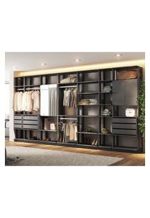 Closet Modular C/ Espelho Clothes Be Mobiliário 4 Portas 9 Gavetas