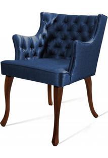 Poltrona Rocaille Capitone Azul Pes Castanho - 50184 - Sun House
