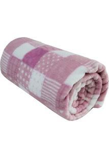 Cobertor Microfibra Baby Patchwork- Rosa Claro & Branco