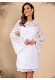 Vestido Curto Branco Com Mangas Longas Sino