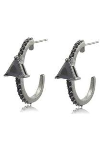 Brinco Viva Jolie Ear Hook Triangulo Ônix Ródio Negro