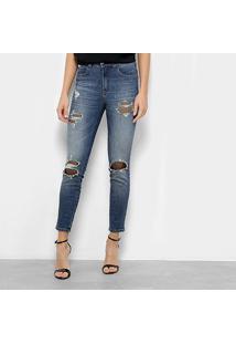 dfd3784ad ... Calça Jeans Colcci Cigarrete Bia Telinha Cintura Média Feminina -  Feminino-Azul Escuro