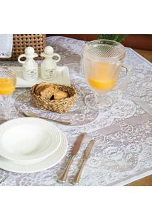 Toalha De Mesa Quadrada Dinner Branca (100X100)