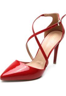 Scarpin Dafiti Shoes Tiras Transpassadas Vermelho